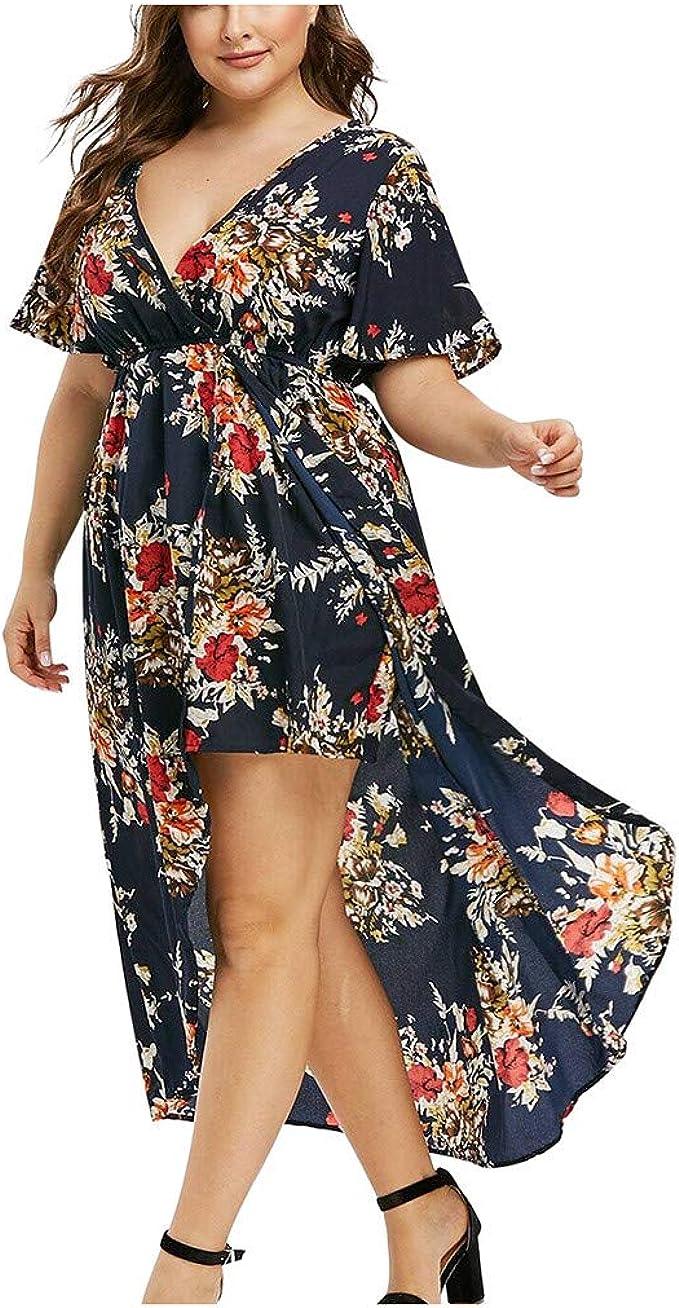 PcLeam Mode Frauen Kurzarm Blumendruck ÄRmel High Low Maxi Kleid