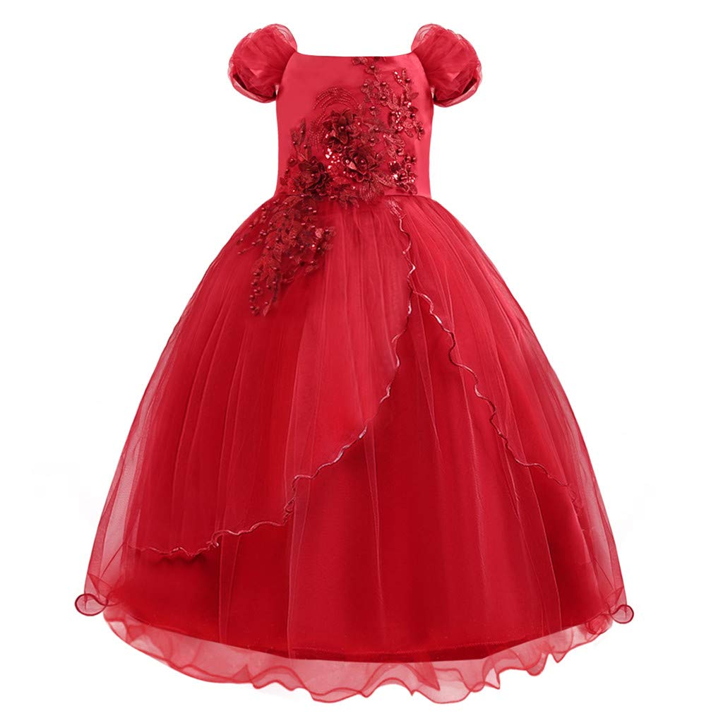 Wenini Girls Lace Bridesmaid Dress Children Kids Princess Bridesmaid Pageant Tutu Tulle Gown Party Wedding Dress Aged 4-13Y by Wenini