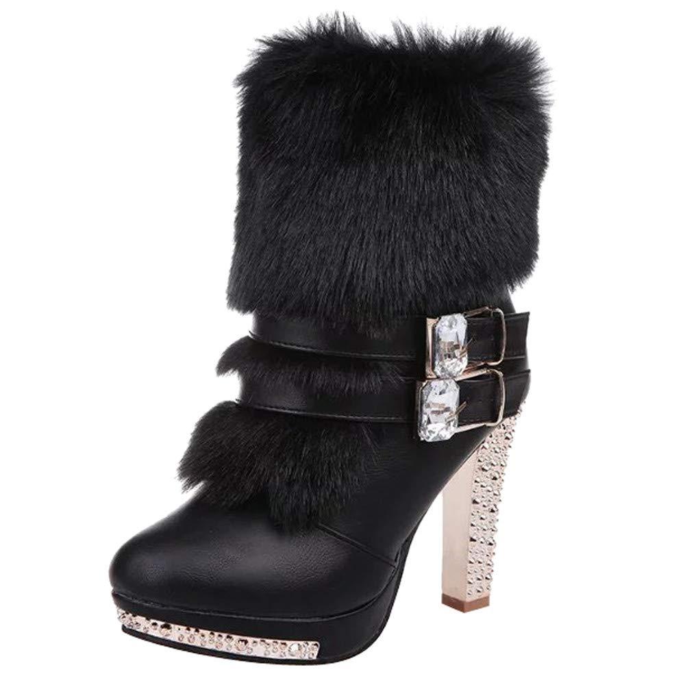 Botas de tacón alto de mujer, BBestseller Cuero de cabeza redonda de pedrería de tacón alto Martin botas en botas de mujer zapatos BBestseller-Botas