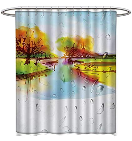 Landscape Shower Curtains Hooks Vibrant Fall In Pastoral Nature Reflections Meadow Field Rural Scene