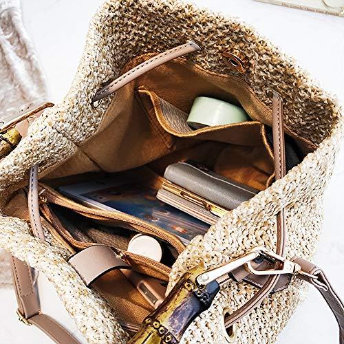 Fashion Summer Beach Bag Women Birthday Stylish Bamboo Bag Girls Straw Tote Handbag Anniversary Gift Handle Crossbody Bag qttxwCn1E