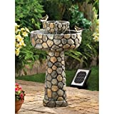Rustic Stone Wishing Well Solar Water Fountain, Dual Powered, Solar Panel Included