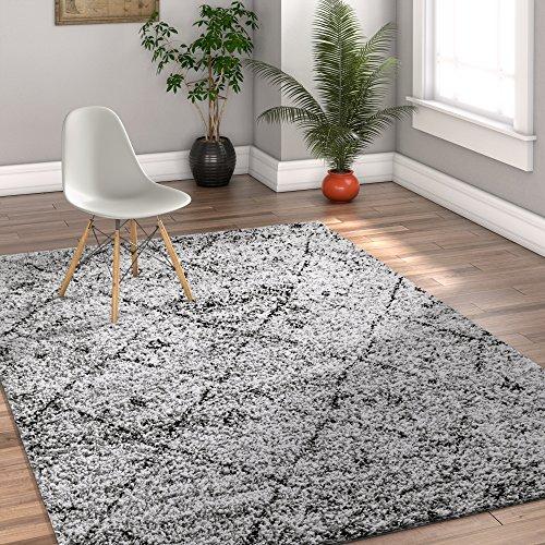 Modern Geometric Lattice Shag 5x7 (5' x 7'2'') Area Rug Mazie Moroccan Trellis Grey Plush Easy Care Thick Soft Plush Living Room