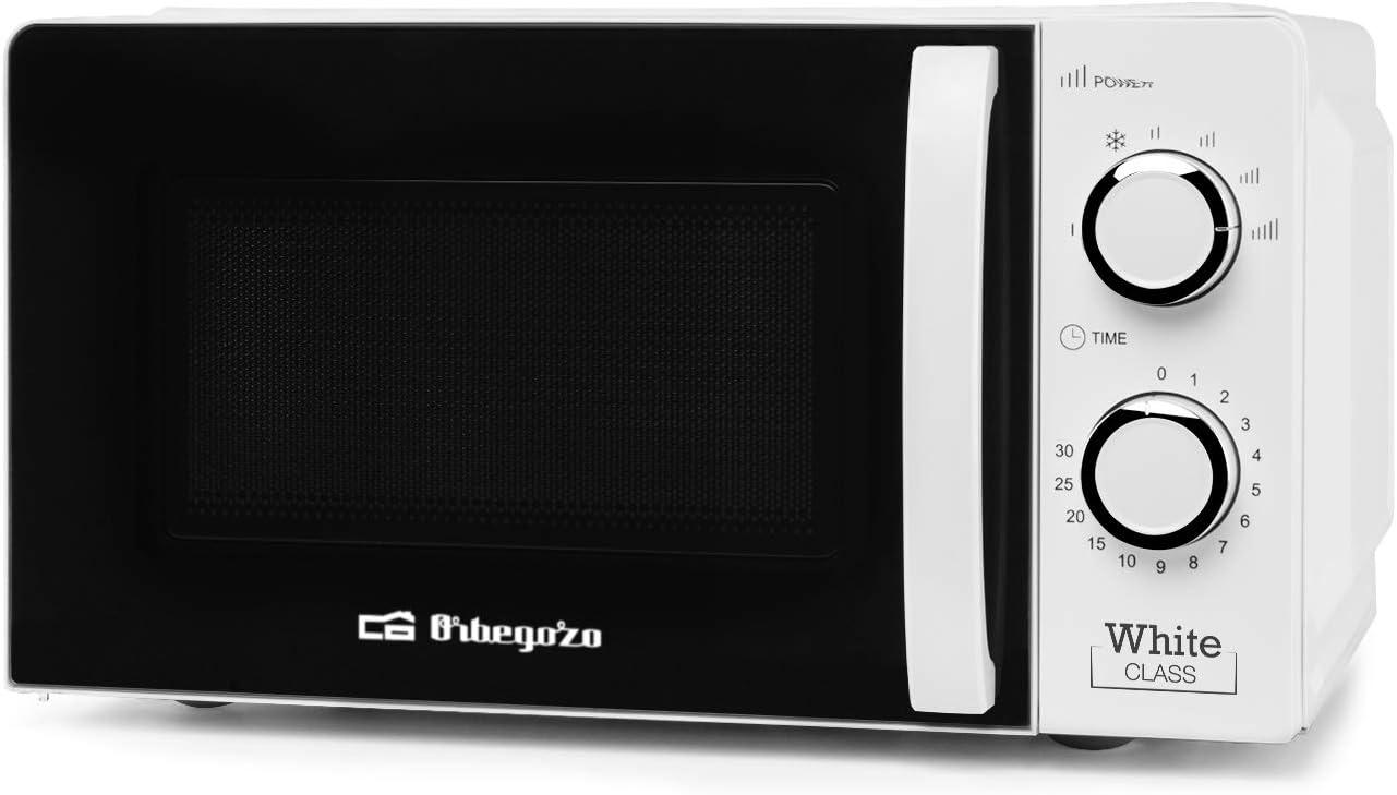 Orbegozo MI 2115 - Microondas con 20 Litros de Capacidad, 6 Niveles de Funcionamiento, Temporizador hasta 30 Minutos, 700 W de Potencia, Blanco