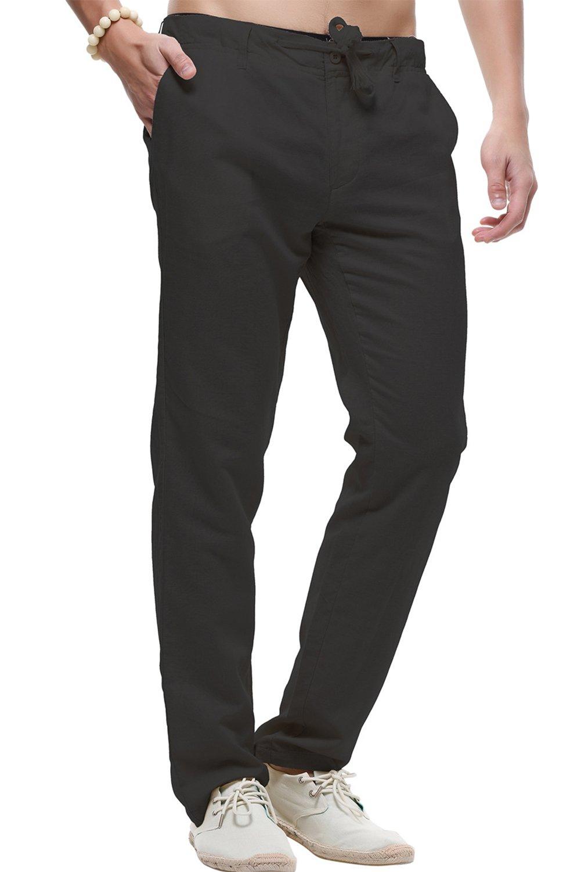 sandbank Men's Drawstring Casual Beach Pants Straight Leg Linen Summer Pants (Black, US 33)