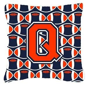 """Caroline tesoros del cj1066-qpw1414letra Q de fútbol naranja, azul y blanco tejido decorativo almohada, 14""""H x 14"""" W, multicolor"""