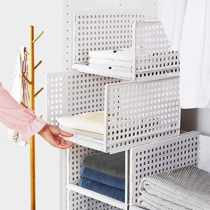 Esyhomi Kleiderschrank Organizer Regal,Stapelbare Aufbewahrungsboxen Garderobe Schrank Organizer,Badezimmer Aufbewahrungskorb Stapelbar f/ür K/üche,Schlafzimmer Wei/ß, 3-teiliges Set