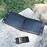 SUNKINGDOM™ 7W 5V Portable Folding Outdoor Solar Panel Charger with High Efficient Solar Charger Output for Phone,Samsung,Power bank,Bluetooth or Any Other USB Device (Black)