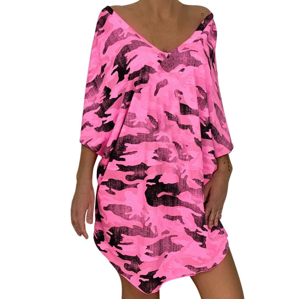 Robe Ete Femme Courte Grande Taille Robe de Plage Imprimé léopard Manches Courtes Bohème Col V Mini Robe PANPANY