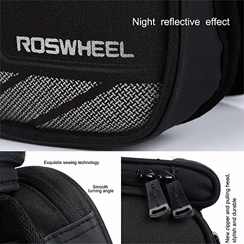 Bicycle Tube Frame Cycling Pannier Water Resistant Bike Bag & 5.5 inch Mobile Phone Screen Touch Holder