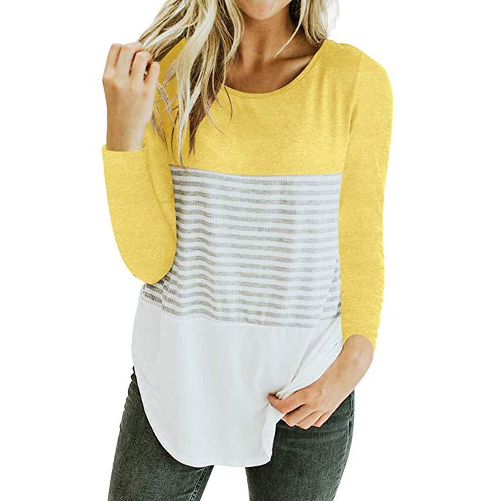ALIKEEY Camiseta De Manga Larga con Tres Rayas, Color Block Y Blusa Casual para Mujer con Amarilla Juvenil Bordado: Amazon.es: Ropa y accesorios