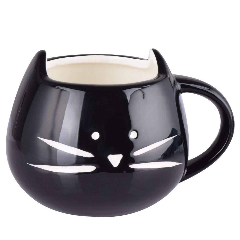 DMZK Taza de caf/é de cer/ámica Taza de Gato para caf/é Leche Agua Negro t/é ect