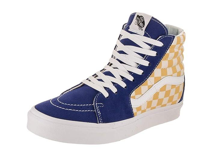 Vans Unisex-Erwachsene SK8-Hi Hohe Sneakers Blau Gelb/Weiß Kariert