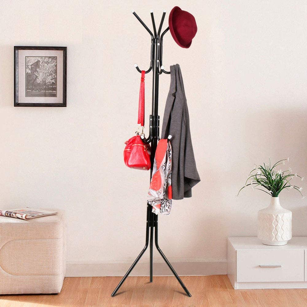 Ballshop Metal Clothes Rail Stand Hat Umbrella Tree Stand Metal Clothes Holder 12 Hooks White for Bedroom Hallway Office Entryway White