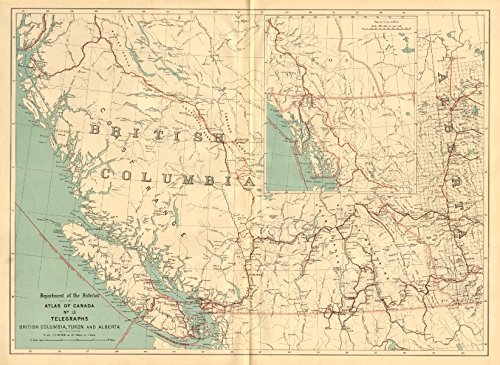 British Columbia, Yukon and Alberta. TELEGRAPH CABLES. Canada. WHITE - 1906 - old map - antique map - vintage map - Canada maps