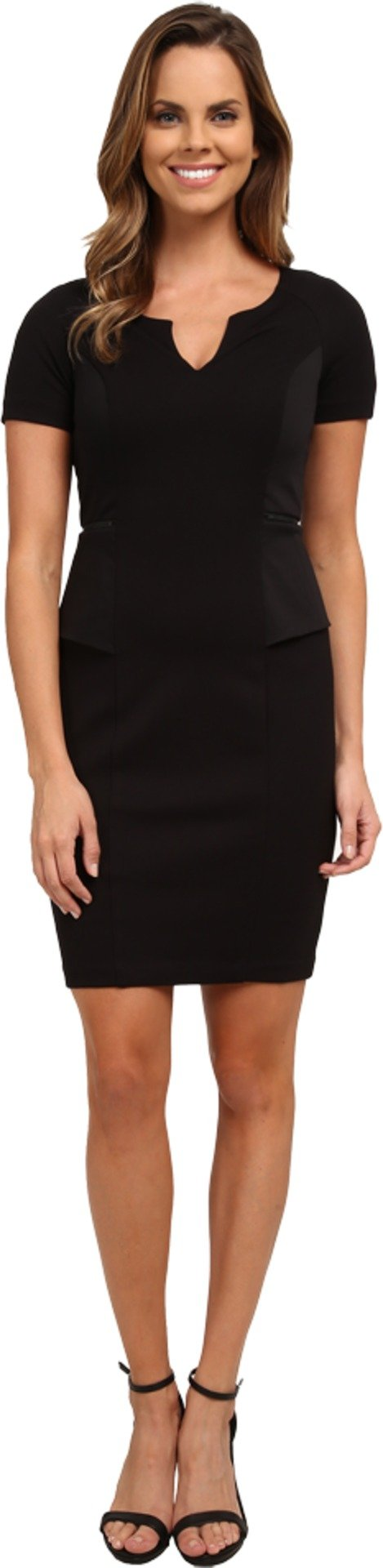 NYDJ Women's Bridget Peplum Ponte Dress, Black, 8