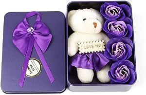 اجمل المفارش صابون زهرة الاصطناعي مع الدب الصغير الحديد مربع التعبئة هدية عيد الحب حفلة عرس تزيين هدية يوم الأم، بيربل