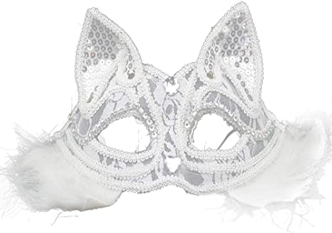 Cat Woman Mask Clear Gems Cat Mask White Masquerade Mask Masquerade Ball Masks Masquerade Mask Mardi Gras Mask Masquerade Mask