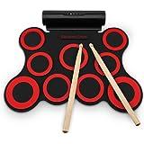 NEWBEN E-Drum Elektronisches Schlagzeug Kit 9 Pads Tragbare Roll Up Schlagzeug, Faltbare Praxis-Instrument Eingebaute Lautsprecher & Drum Fußpedale & Drumsticks für Kinder, Anfänger,Schlagzeuger