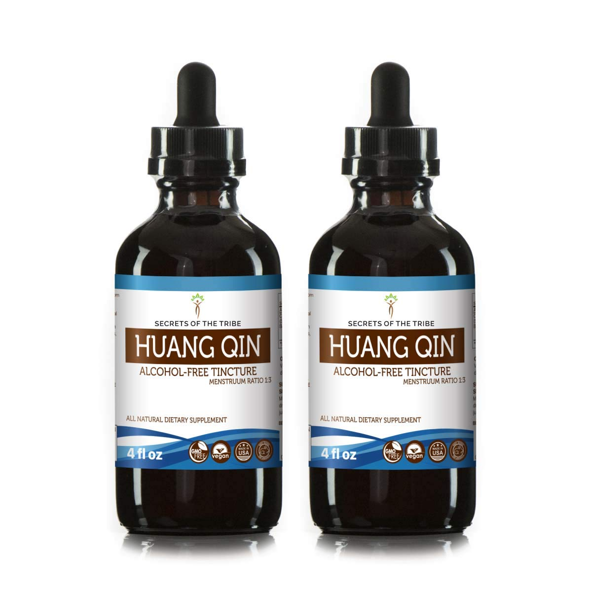 Huang Qin Tincture Alcohol Extract-Free, Organic Huang Qin Scutellaria Root, Radix Scutellariae Baicalensis Remove Heat in The Body 2x4 OZ