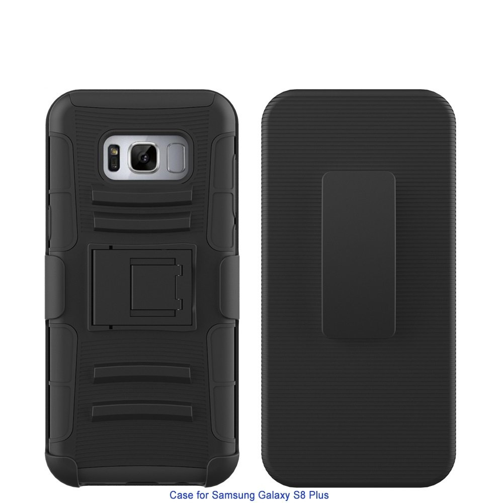Samsung Galaxy S8 Plus Holster Case Combo,MELLENNIALS [Utility Clip Series] Belt Clip with built in Kickstand Design Back Cover (Black)
