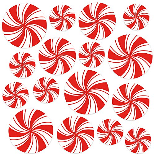 Circus Party Decorations | Red and White LARGE Decals for Floors, Windows, Counters and Walls | 3 Sizes- Set of 16 | Leaves NO Residue | Carnival Party Supplies -