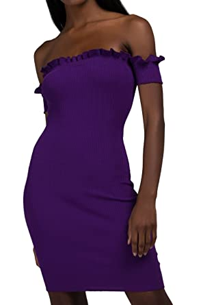 564bef481b64 AKIRA Women s Thick Ribbed Knit Lettuce Edge Off Shoulder Bardot Fitted Bodycon  Midi Dress-Purple S