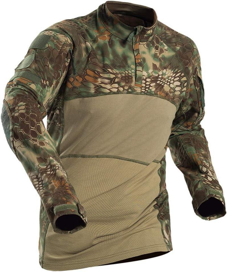 TBATM Los Hombres de Estilo de Combate Camiseta, Militar Camuflaje Slim Fit Manga Larga Top Deportes Polo Blusa para Entrenar atléticos Correr Ejercicio Gimnasio Fitness Ejercicios,C,XXXL: Amazon.es: Hogar
