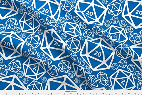 Spoonflower D20 Fabric Win Some, Lose Some - Royal by Melpoemene Printed on Basic Cotton Ultra Fabric by the (Dice Fabric)
