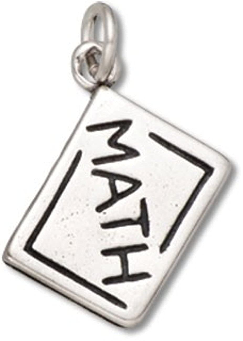 Sterling Silver Girls .8mm Box Chain 3D Math School Chalk Board Pendant Necklace