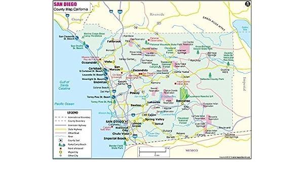 Amazon.com : San Diego County Map (36\