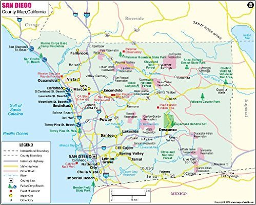 San Diego County Map - laminated (36