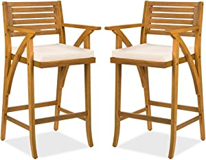 Best Choice Products Set of 2 Outdoor Acacia Wood Bar Stools Bar Chairs for Patio, Pool, Garden w/Weather-Resistant Cushions - Teak Finish