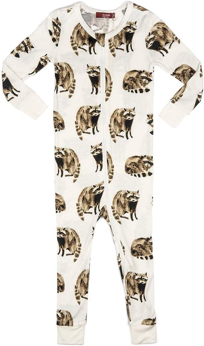 MilkBarn Bamboo Zipper Pajama Raccoon