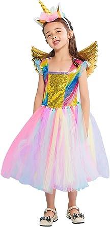 Girls Kids Fairy Dress Costume Cosplay Rainbow Purple Extra Large