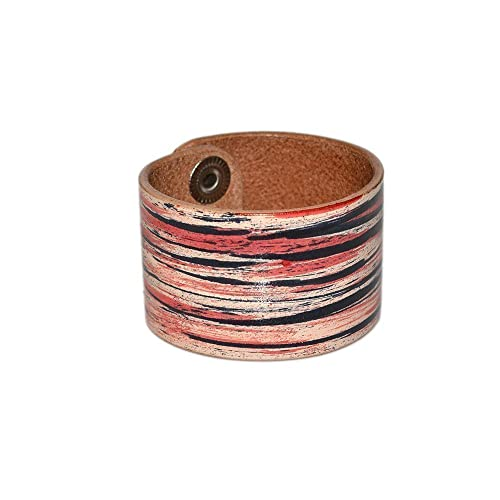 4ae2670a8b5e3 Amazon.com: Mens Wide Leather Bracelet / Black Red Leather Bracelet ...