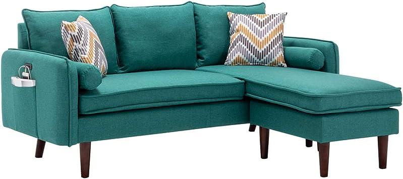 mia linen fabric sectional sofa chaise