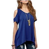 wsplyspjy Mujer Fashional parte superior color sólido frío hombro dobladillo irregular de la blusa playera