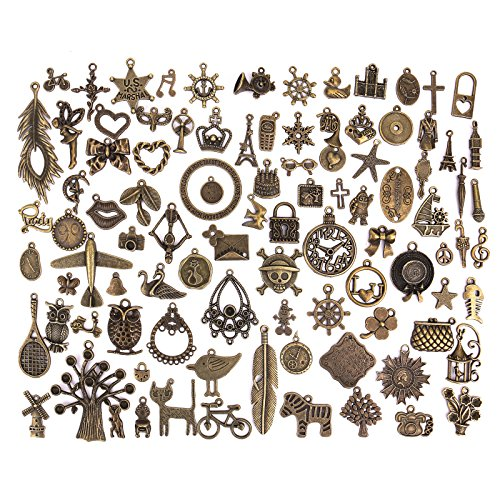 Scrapbooking Charms - Pasutewel 96pcs Antique Bronze Vintage Charms Set DIY Handmade Accessories Necklace Pendants Jewelry Making Supplies for Wedding Decoration and Birthday Party