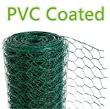 CrazyGadget® Chicken Wire Mesh Rabbit Animal Fence Green PVC Coated Steel Metal Garden Netting Fencing 25m (0.6m x 25m)