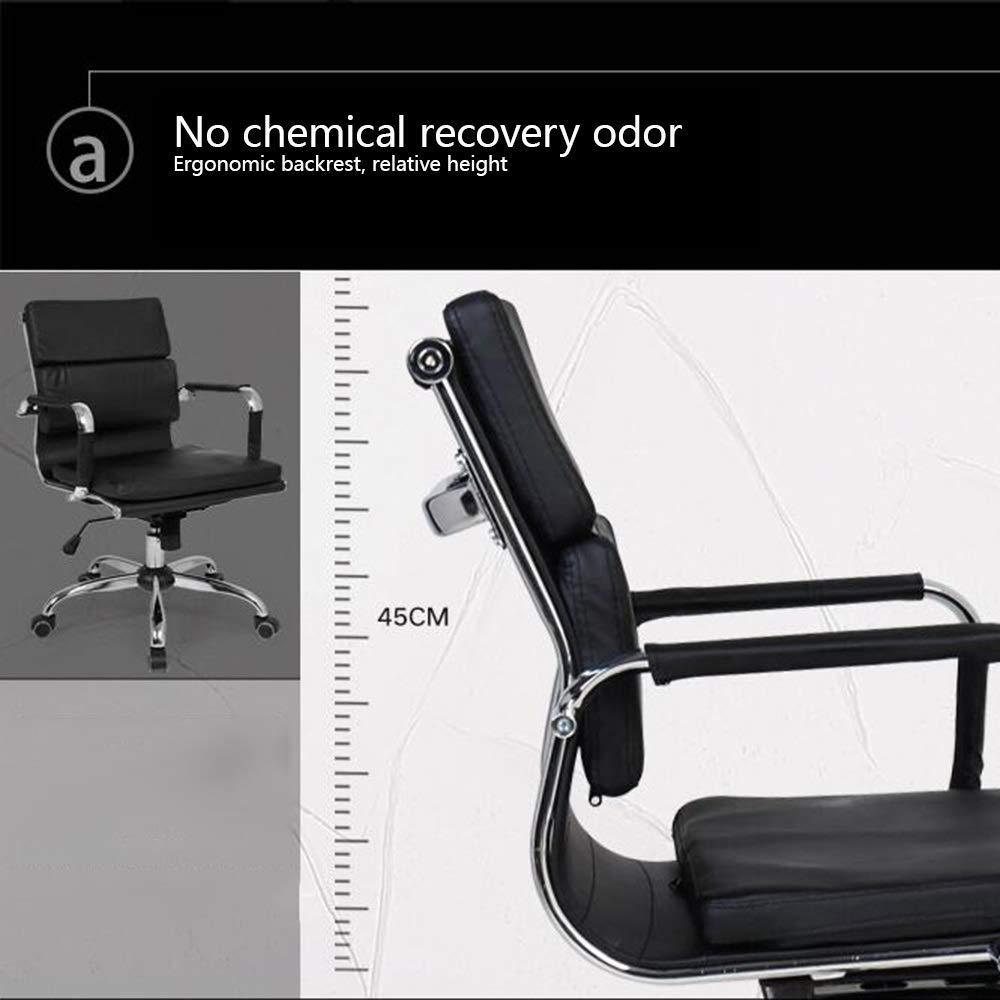 JIEER-C stol dator stol läder skrivbord spelstol dubbel kudde kontor skrivbord stol rosett fot ergonomisk hög rygg datorstol för kontor kontor, vit Vitt