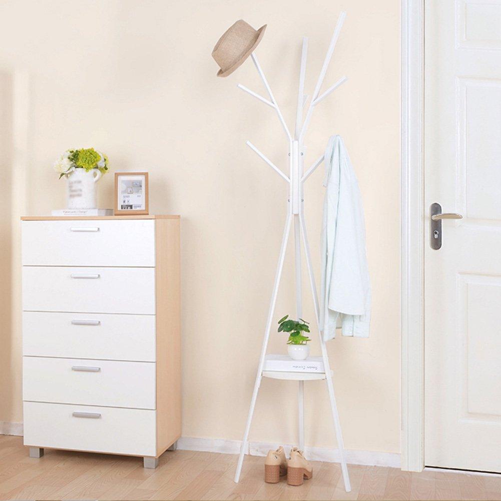 JIANFEI Floor Standing Coat Rack Hat Stand Hanger Tree 8 Hooks Lower Part Circular Shelf 3 Legs, Carbon Steel (Color : White)