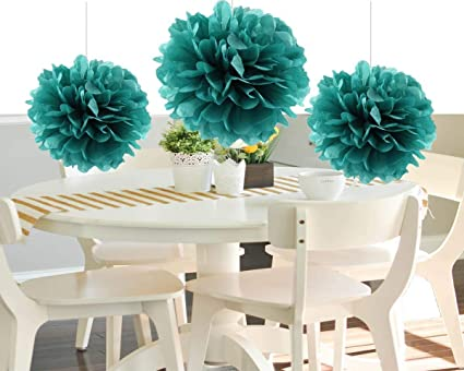 Amazon heartfeel 8pcs teal color tissue paper pom poms flower heartfeel 8pcs teal color tissue paper pom poms flower balls paper craft paper flower hanging pom mightylinksfo