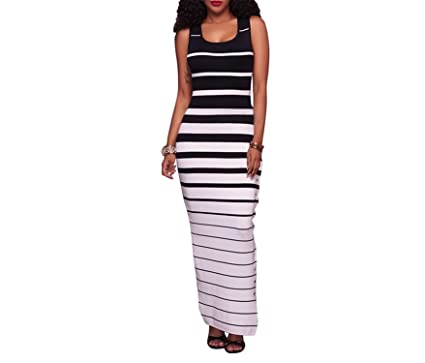 HANBINGPO Casual Striped Tank Women Maxi Dresses Buttons One Side Long Dress Vestidos