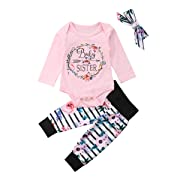 Baby Girls Little Sister Bodysuit Tops Floral Pants Bowknot Headband Outfits Set (0-6 Months, Style 6 Long Sleeve)