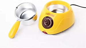 AHRIWINK Electric Chocolate Melting Pot Chocolatiere Mini Fondue Candy Cheese Fondue Fountain Machine for Butter Cafe Candy Home with Over Free Accessories,Yellow