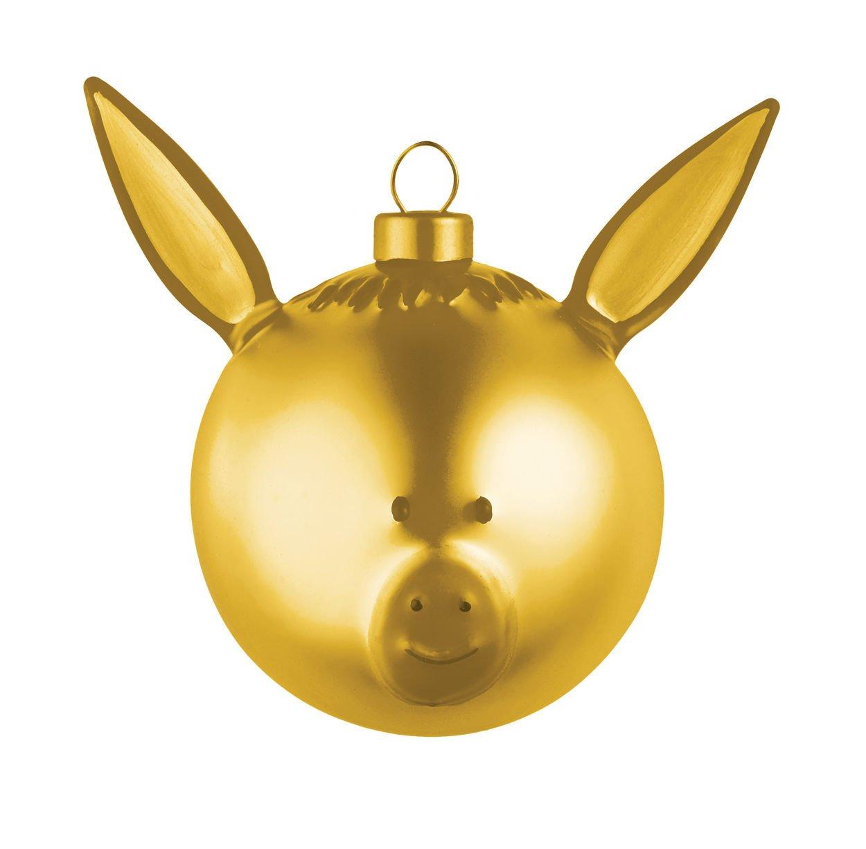 Alessi AMJ13 5 GD Asinello Weihnachtsbaumkugel 4 Stück aus Glas in Gold