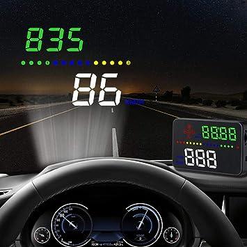VIGORFLYRUN PARTS LTD Hud Head Up Display A500 Proyector de Velocidad de automóvil 3.5 Pulgadas Proyector de Parabrisas Digital OBD II GPS Alarma de ...