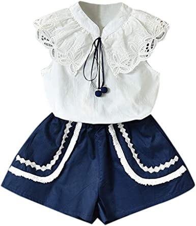 2pc Toddler Baby Girl Kids Clothes T shirt Tops+Casual Floral Shorts Pant Set US