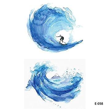 5 Hojas Acuarela Wave Surf Tatuajes Temporales Tatuajes Falsos ...